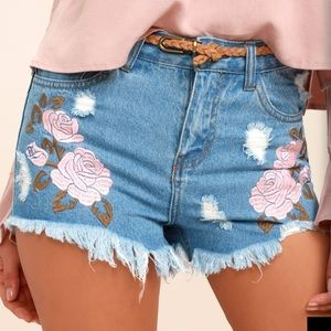Light Wash Embroidered Distressed Denim Shorts